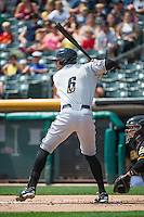 Brett Eibner (6) of the Omaha Storm Chasers at bat against the Salt Lake Bees in Pacific Coast League action at Smith's Ballpark on August 16, 2015 in Salt Lake City, Utah. Omaha defeated Salt Lake 11-4. (Stephen Smith/Four Seam Images)
