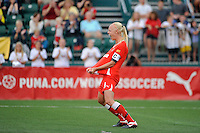 Caroline Seger (9) of the Western New York Flash celebrates scoring during the penalty kick shootout. The Western New York Flash defeated the Philadelphia Independence 5-4 in a penalty kick shootout after playing to a 1-1 tie during the Women's Professional Soccer (WPS) Championship presented by Citi at Sahlen's Stadium in Rochester NY, on August 27, 2011.
