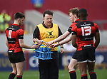 Ennis manager Eanna Lennon talks with his charges during their U-18 Munster Club Final against Garryowen at Thomond Park. Photograph by John Kelly.