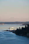 Puget Sound, Port Townsend, Mount Rainier, Port Townsend ferry, Point Hudson Marina, sunset, Olympic Peninsula, Washington State, Pacific Northwest, USA,