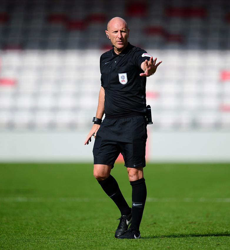 Referee Andy Davies<br /> <br /> Photographer Andrew Vaughan/CameraSport<br /> <br /> The EFL Sky Bet League One - Saturday 12th September  2020 - Lincoln City v Oxford United - LNER Stadium - Lincoln<br /> <br /> World Copyright © 2020 CameraSport. All rights reserved. 43 Linden Ave. Countesthorpe. Leicester. England. LE8 5PG - Tel: +44 (0) 116 277 4147 - admin@camerasport.com - www.camerasport.com - Lincoln City v Oxford United