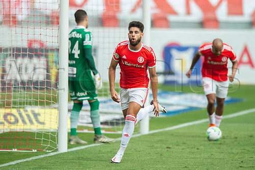 8th November 2020; Beira-Rio Stadium, Porto Alegre, Brazil; Brazilian Serie A, Internacional versus Coritiba; Yuri Alberto of Internacional celebrates his goal in the 33th minute for 1-0