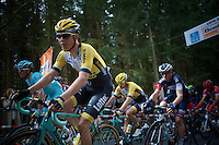 Wilco Kelderman (NLD/LottoNL-Jumbo) cornering on top of the Côte de Stockeu (2300m/9.9%) <br /> <br /> 101th Liège-Bastogne-Liège 2015