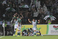 MEDELLÍN -COLOMBIA-17-11-2013. Jugadores de Atlético Nacional celebran un gol en contra de Millonarios durante el partido de la final de la Copa Postobón 2013 realizado en el estadio Atanasio Girardot de Medellín./ Players of Atletico Nacional celebrate a goal against Millonarios during the match of the final of Copa Postobon 2013 played at Atanasio Girardot stadium in Medellin. Photo: VizzorImage/Luis Ríos/STR