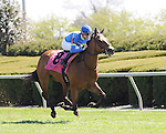 Katie's Eyes and jockey Florent Geroux win the Giant's Causeway at Keeneland for owners Ike and Dawn Thrash and Janet and Sam Alley and trainer Michael Stidham.