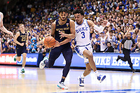 DUKE, NC - FEBRUARY 15: Tre Jones #3 of Duke University tries to knock the ball away from Prentiss Hubb #3 of the University of Notre Dame during a game between Notre Dame and Duke at Cameron Indoor Stadium on February 15, 2020 in Duke, North Carolina.