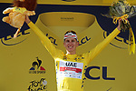 Race leader Tadej Pogacar (SLO) UAE Team Emirates retains the Yellow Jersey at the end of Stage 15 of the 2021 Tour de France, running 191.3km from Céret to Andorre-La-Vieille, Andorra. 11th July 2021.  <br /> Picture: Colin Flockton | Cyclefile<br /> <br /> All photos usage must carry mandatory copyright credit (© Cyclefile | Colin Flockton)