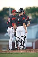 Batavia Muckdogs pitching coach Jason Erickson (16) talks with catcher David Gauntt (7) and relief pitcher Shane Sawczak (21) during a game against the Auburn Doubledays on June 19, 2017 at Dwyer Stadium in Batavia, New York.  Batavia defeated Auburn 8-2 in both teams opening game of the season.  (Mike Janes/Four Seam Images)