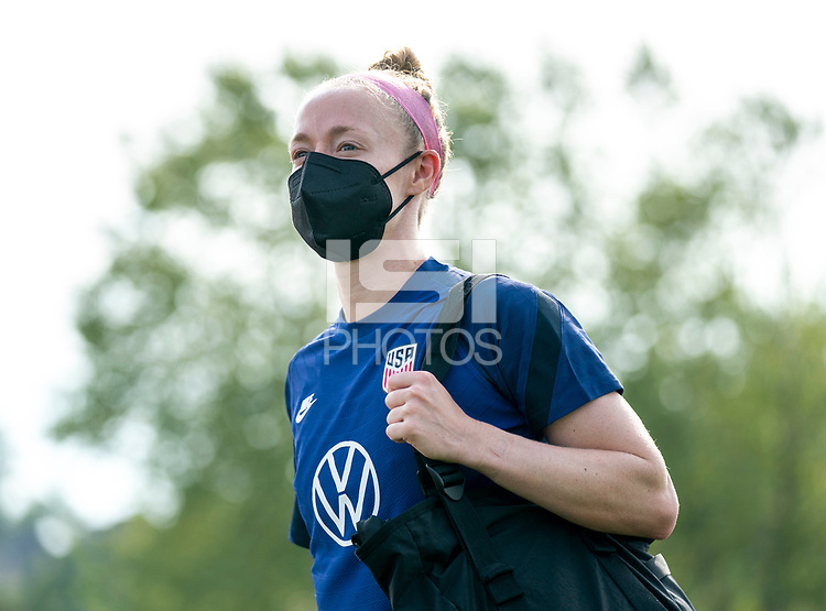 CLEVELAND, OH - SEPTEMBER 14: Becky Sauerbrunn of the United States walks onto the field during a training session at the training fields on September 14, 2021 in Cleveland, Ohio.