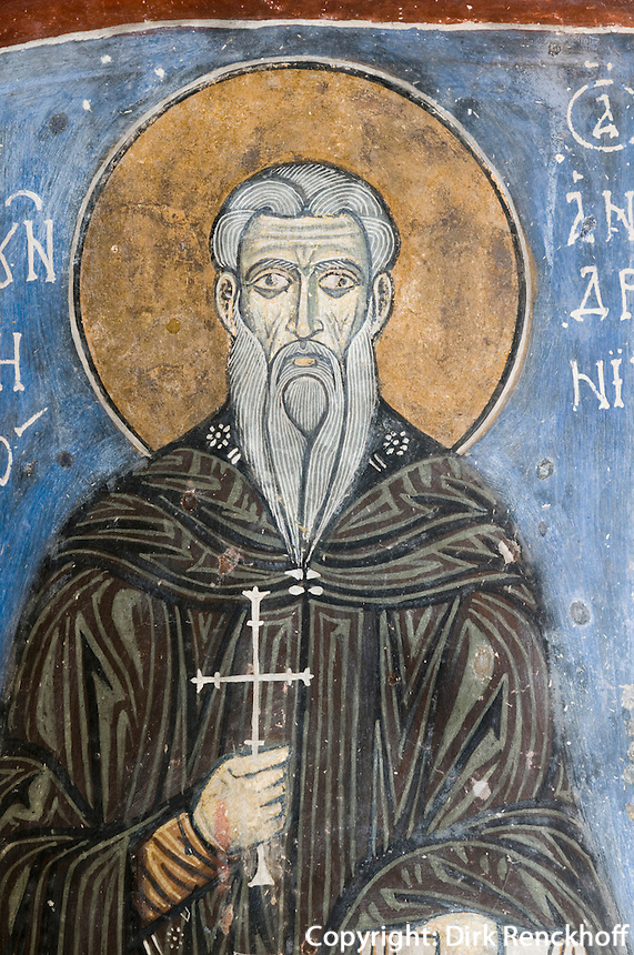 Zypern (Süd), Kloster Agios Neofytos, Fresken in der Höhleneinsiedelei, Darsstellung des Neofytos (gestorben 1215)