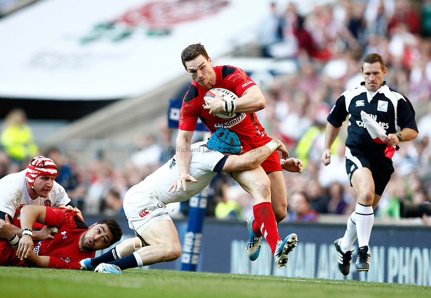 Photo: Richard Lane/Richard Lane Photography. England v Wales. RBS Six Nations. 09/03/2014. Wales' George North attacks.