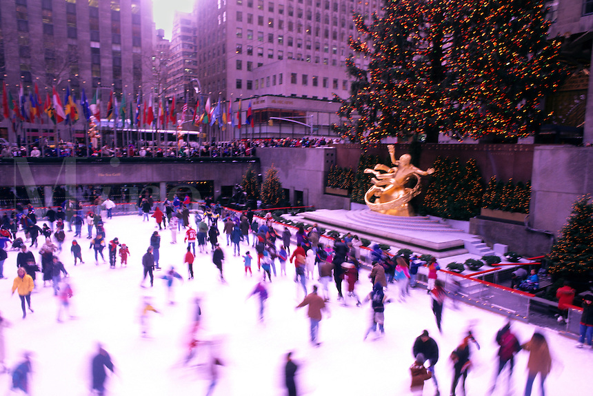 Skating rink at Rockefeller Center at Christmas time. New York