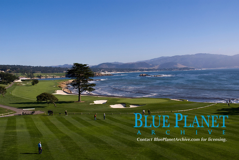 View of Pebble Beach golf course and Stillwater Bay, California