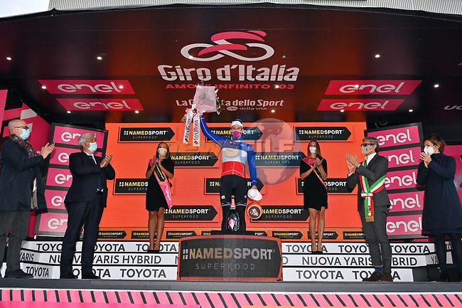French Champion Arnaud Demare (FRA) Groupama-FDJ wins Stage 11 of the 103rd edition of the Giro d'Italia 2020 running 182km from Porto Sant'Elpidio to Rimini, Italy. 14th October 2020.  <br /> Picture: LaPresse/Massimo Paolone | Cyclefile<br /> <br /> All photos usage must carry mandatory copyright credit (© Cyclefile | LaPresse/Massimo Paolone)