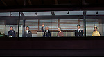 December 23, 2012, Tokyo, Japan - Emperor Akihito waves to a throng of well-wishers from behind the bullet-proof glass panel of the Imperial Palace balcony in Tokyo on Sunday, December 23, 2012. More than 20,000 well-wishers turned out to the palace, celebrating the 79th birthday of the monarch, who said in his statement that he's concerned about the country's aging population. With Akihito are, from left: Princess Masako; Crown Prince Naruhito; Akihito, Empress Michiko, Prince Akishino and his wife, Princess Kiko. (Photo by AFLO) UUK -mis-