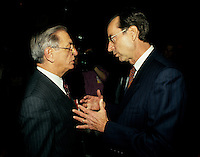 Montreal (QC)CANADA -    1991 ca File Photo  - <br /> Jean-Pierre Roy (L) and <br /> Quebec Premier and<br /> Liberal Provincial Leader Robert Bourassa  possibly at the Liberal convention March 9 and 10 1991.