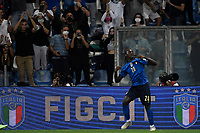 Moise Kean of Italy celebrates after scoring the goal of 2-0 during the Qatar 2022 world cup qualifying football match between Italy and Lithuania at Citta del tricolore stadium in Reggio Emilia (Italy), September 8th, 2021. Photo Andrea Staccioli / Insidefoto