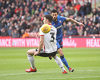 Bolton Wanderers Jason Lowe in action with Sheffield United's Enda Stevens<br /> <br /> Photographer Mick Walker/CameraSport<br /> <br /> The EFL Sky Bet Championship - Sheffield United v Bolton Wanderers - Saturday 2nd February 2019 - Bramall Lane - Sheffield<br /> <br /> World Copyright © 2019 CameraSport. All rights reserved. 43 Linden Ave. Countesthorpe. Leicester. England. LE8 5PG - Tel: +44 (0) 116 277 4147 - admin@camerasport.com - www.camerasport.com