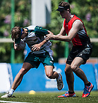 Players in action during the Swire Properties Touch Tournament 2014 for HKRFU on September 13, 2014 at King's Park Sports Ground in Hong Kong, China. Photo by Xaume Olleros / Power Sport Images