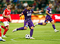 18th April 2021; HBF Park, Perth, Western Australia, Australia; A League Football, Perth Glory versus Wellington Phoenix; Bruno Fornaroli Mezza of the Perth Glory shoots from just ouside the box but is saved