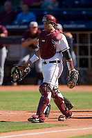 Catcher Rafael Lopez #29 of the Florida State Seminoles on defense versus the Boston College Eagles at Durham Bulls Athletic Park May 20, 2009 in Durham, North Carolina. (Photo by Brian Westerholt / Four Seam Images)