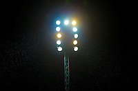 The Upgraded Floodlights are in use for the first Wycombe evening KO of the 2015/16 season during the Capital One Cup match between Wycombe Wanderers and Fulham at Adams Park, High Wycombe, England on 11 August 2015. Photo by Andy Rowland.