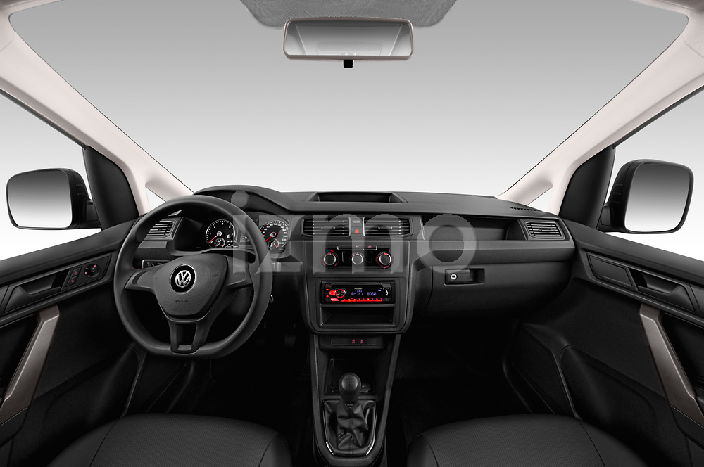 Stock photo of straight dashboard view of a 2019 Volkswagen Caddy Van Base 4 Door Car van