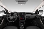 Stock photo of straight dashboard view of a 2019 Volkswagen Caddy Van Base 4 Door Car van