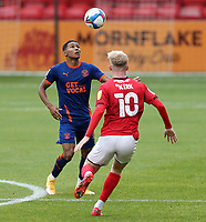 Blackpool's Demi Mitchell under pressure from Crewe Alexandra's Charlie Kirk<br /> <br /> Photographer Rich Linley/CameraSport<br /> <br /> The EFL Sky Bet League One - Crewe Alexandra v Blackpool - Saturday 17th October 2020 - Gresty Road - Crewe<br /> <br /> World Copyright © 2020 CameraSport. All rights reserved. 43 Linden Ave. Countesthorpe. Leicester. England. LE8 5PG - Tel: +44 (0) 116 277 4147 - admin@camerasport.com - www.camerasport.com