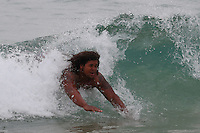 SYDNEY, AUSTRALIA - August 22, 2016:  Cal Bears Football team Australia trip. James Looney body surfing at Bondi Beach.