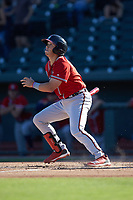 Logan Brown (99) of the Rome Braves follows through on his swing against the Columbia Fireflies at Segra Park on May 13, 2019 in Columbia, South Carolina. The Fireflies walked-off the Braves 2-1 in game one of a doubleheader. (Brian Westerholt/Four Seam Images)