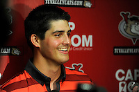 Tri-City ValleyCats starting pitcher Mark Appel #28 talks to the media after his first professional start against the Lowell Spinners on July 5, 2013 at Joseph L. Bruno Stadium in Troy, New York.  Appel was the first overall selection of the 2013 Major League Baseball Draft by the Houston Astros out of Stanford University.  (Mike Janes/Four Seam Images)