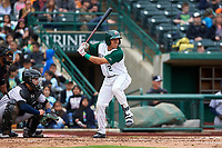 Fort Wayne TinCaps Jawuan Harris (2) at bat during a Midwest League game against the Kane County Cougars at Parkview Field on May 1, 2019 in Fort Wayne, Indiana. Fort Wayne defeated Kane County 10-4. (Zachary Lucy/Four Seam Images)