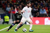 Spain's Isco Alarcon (r) and Argentina's Fabricio Bustos during international friendly match. March 27,2018.(ALTERPHOTOS/Acero) /NortePhoto.com NORTEPHOTOMEXICO