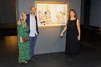 "Pictured: Artist Stefanos Rokos with friends.  Tuesday 03 September 2019<br /> Re: Opening of ""No More Shall We Part, 14 Paintings, 17 Years Later"", a collection of paintings based on the Nick Cave and the Bad Seeds album with the same name, by Stefanos Rokos at Bernerts Gallery in Antwerp, Belgium."
