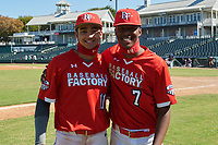 Jordan Lawlar (11) and Tyree Reed (7) pose for a photo after the Baseball Factory All-Star Classic at Dr. Pepper Ballpark on October 4, 2020 in Frisco, Texas.  (Mike Augustin/Four Seam Images)