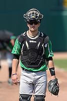 Dayton Dragons catcher Joe Hudson (18) before a game against the Lansing Lugnuts on August 25, 2013 at Cooley Law School Stadium in Lansing, Michigan.  Dayton defeated Lansing 5-4 in 11 innings.  (Mike Janes/Four Seam Images)