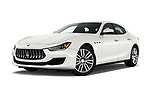 Stock pictures of low aggressive front three quarter view of a 2018 Maserati Ghibli Base 4 Door Sedan