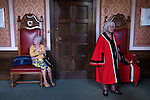 Damask Rose Ceremony Leicester 2016. Two Mayors chairs in the Mayors Parlour. Mayors Chairs traditionally are large imposing and it was from these chairs that the Mayor sits on and conducts council meeting business.