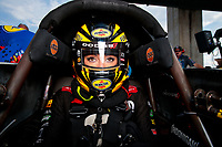 Sep 1, 2019; Clermont, IN, USA; NHRA top fuel driver Leah Pritchett during qualifying for the US Nationals at Lucas Oil Raceway. Mandatory Credit: Mark J. Rebilas-USA TODAY Sports