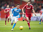 Aberdeen v St Johnstone…29.04.17     SPFL    Pittodrie<br />Danny Swanson gets away from Andy Considine<br />Picture by Graeme Hart.<br />Copyright Perthshire Picture Agency<br />Tel: 01738 623350  Mobile: 07990 594431