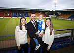 Dave Mackay Testimonial: St Johnstone v Dundee…06.10.17…  McDiarmid Park… <br />Dave Mackay pictured with his wife Laura and children Louise and Calum<br />Picture by Graeme Hart. <br />Copyright Perthshire Picture Agency<br />Tel: 01738 623350  Mobile: 07990 594431