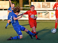 Hanne Merkelbach (25) of KRC Genk and Jana Simons (8) of Woluwe battle for the ball during a female soccer game between  Racing Genk Ladies and White Star Woluwe on the 8 th matchday of play off 2 in the 2020 - 2021 season of Belgian Scooore Womens Super League , tuesday 18 th of May 2021  in Genk , Belgium . PHOTO SPORTPIX.BE | SPP | JILL DELSAUX