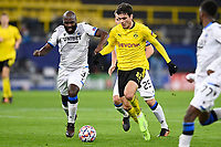 DORTMUND, GERMANY - NOVEMBER 24 : Eder Balanta midfielder of Club Brugge is fighting for the ball with Giovanni Reyna midfielder of Borussia Dortmund during the UEFA Champions League Group stage - group F, 2nd leg match between Borussia Dortmund and Club Brugge at the Signal Iduna Park stadium on November 24, 2020 in Dortmund, Germany, 24/11/2020 ( Photo by Nico Vereecken / Photo News<br /> Borussia Dortmund - Club Brugge <br /> Champions League 2020/2021<br /> Photo Photonews / Panoramic / Insidefoto <br /> Italy Only
