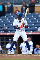 Justin Williams (4) of the Durham Bulls at bat against the Buffalo Bison at Durham Bulls Athletic Park on April 25, 2018 in Allentown, Pennsylvania.  The Bison defeated the Bulls 5-2.  (Brian Westerholt/Four Seam Images)