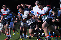 Scots players celebrate at the final whistle of the Wellington 1st XV premier rugby final between Scots College and St Patrick's College Silverstream at Porirua Park in Wellington, New Zealand on Sunday, 18 August 2019. Photo: Dave Lintott / lintottphoto.co.nz