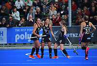 NZ's Julia King celebrates a goal during the Sentinel Homes Trans Tasman Series hockey match between the New Zealand Black Sticks Women and the Australian Hockeyroos at Massey University Hockey Turf in Palmerston North, New Zealand on Sunday, 30 May 2021 Photo: Dave Lintott / lintottphoto.co.nz