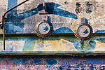 Geariing on wall.  Abandoned military gunnery bunkers at Fort Worden State Park, Port Townsend, WA.  Cubist, abstract, representaional.