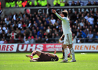 Pictured: (L-R) Matija Nastasic, Michu.<br /> Saturday 04 May 2013<br /> Re: Barclay's Premier League, Swansea City FC v Manchester City at the Liberty Stadium, south Wales.