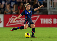 ORLANDO, FL - MARCH 05: Abby Dahlkemper #7 of the United States crosses the ball during a game between England and USWNT at Exploria Stadium on March 05, 2020 in Orlando, Florida.